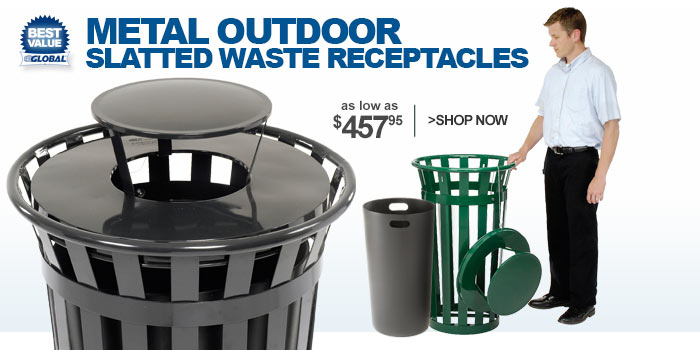Metal Outdoor Slatted Waste Receptacles - as low as $457.95