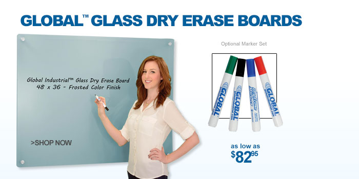 Global™ Glass Dry Erase Boards - as low as $82.95